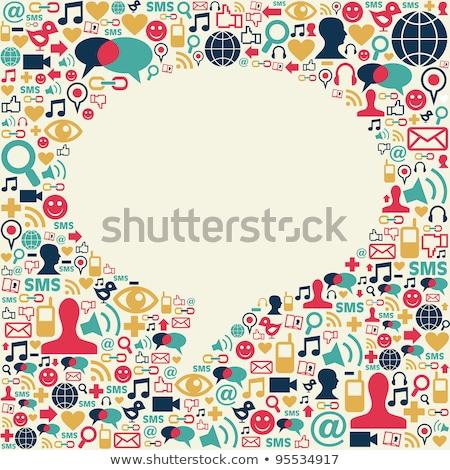 social · media · ikona · tekstury · dyskusja · Bańka - zdjęcia stock © m_pavlov