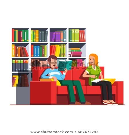пару · расслабляющая · журнала · улыбаясь · человека · счастливым - Сток-фото © feelphotoart