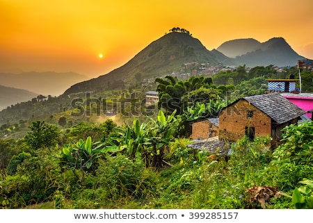 Pueblo Nepal hdr fotografía montana granja Foto stock © dutourdumonde