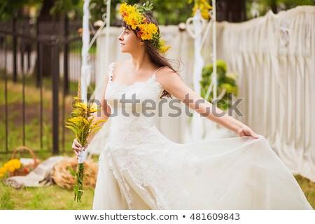сидящий · красивая · женщина · красное · платье · белый · женщину · девушки - Сток-фото © feedough