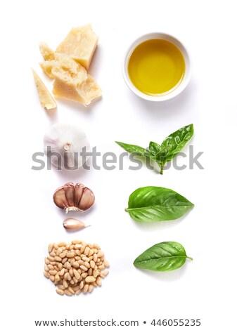 Queijo parmesão ervas temperos mesa de madeira papel comida Foto stock © karandaev