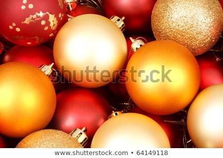 karácsony · díszek · hó · fenyőfa · ág · vízszintes - stock fotó © juniart