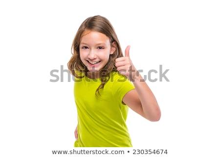 ok gesture thumb up gunny happy kid girl on white Stock photo © lunamarina