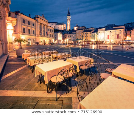 Festői óváros Szlovénia fa fal tájkép Stock fotó © kasto