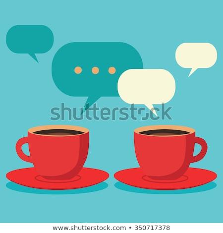 Due felice cartoon caffè uno rosso Foto d'archivio © anbuch