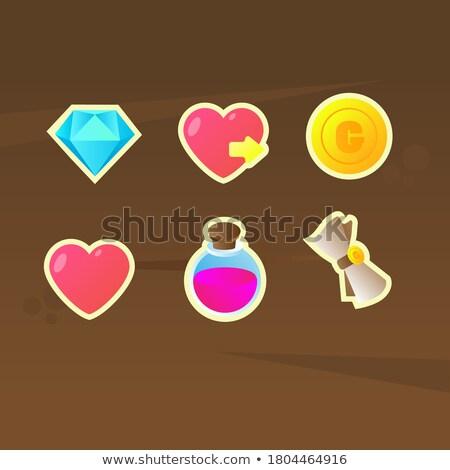 Vektor drágakő szívek szett ikonok romantikus Stock fotó © Voysla