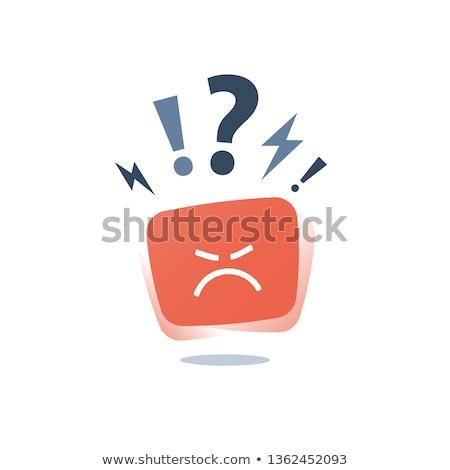 emoticon · supărat · galben · alb · ochi · negru - imagine de stoc © carbouval