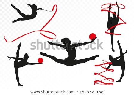 çocuk · küçük · kız · spor · salonu · aerobik · top - stok fotoğraf © lunamarina