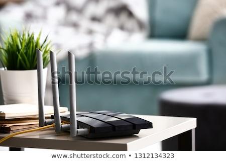 Router modem ferragens conexão ícone vetor Foto stock © Dxinerz