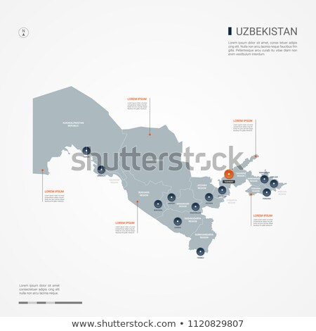 orange button with the image maps of uzbekistan stock photo © mayboro
