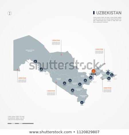 оранжевый кнопки изображение карт Узбекистан форме Сток-фото © mayboro