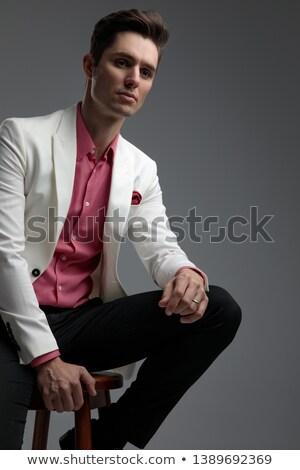 Casuale uomo d'affari riposo gamba sgabello ritratto Foto d'archivio © feedough