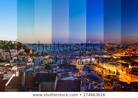 リスボン 市 センター スカイライン 日没 光 ストックフォト © joyr