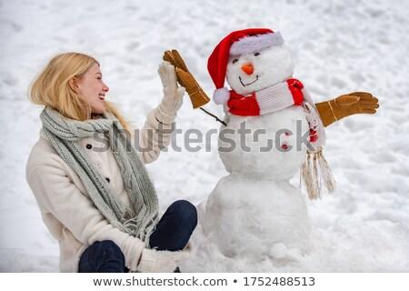 mulher · neve · abstrato · nuvens · feliz · natureza - foto stock © meltem