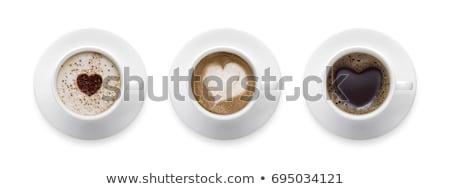 Stock fotó: Kávé · szív · szimbólum · izolált · fehér · asztal