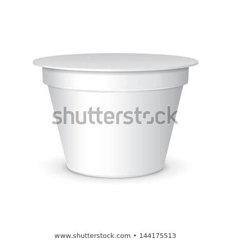 White Food Plastic Tub Bucket Container For Dessert, Yogurt, Ice Cream, Sour Sream Or Snack Stock photo © netkov1