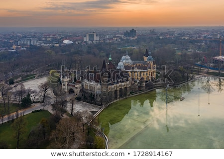 budapest old building on lake varosliget stock photo © fesus