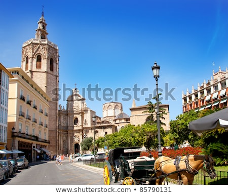 valencia el miguelete micalet in reina square and cathedral stock photo © lunamarina