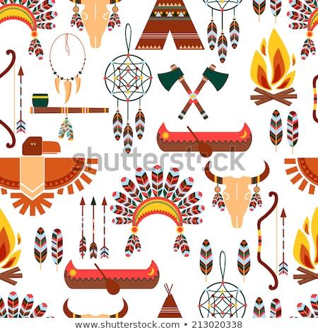 szimbólumok · állat · absztrakt · narancs · maszk · fekete - stock fotó © netkov1