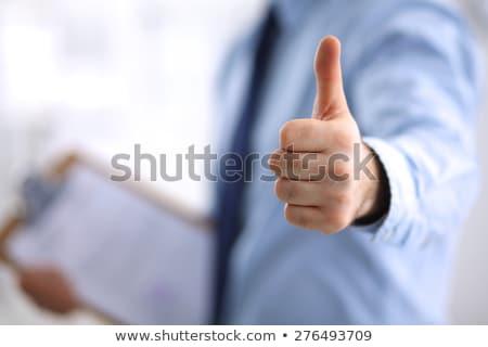 счастливым бизнесмен костюм вызывать рукой знак Сток-фото © dolgachov