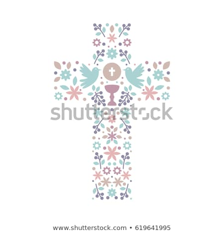 première · communion · rappel · carte · fille · église - photo stock © marimorena