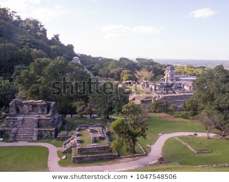 Tourists at ancient mayan city in Palenque Mexico Stock photo © cienpies