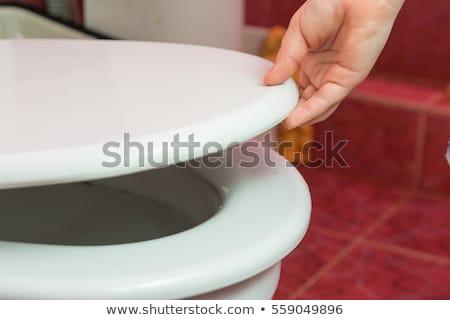 туалет · сиденье · вектора · реалистичный · белый · градиент - Сток-фото © studiostoks