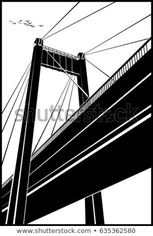 Zdjęcia stock: Most · starych · plakat · stylizowany · miasta