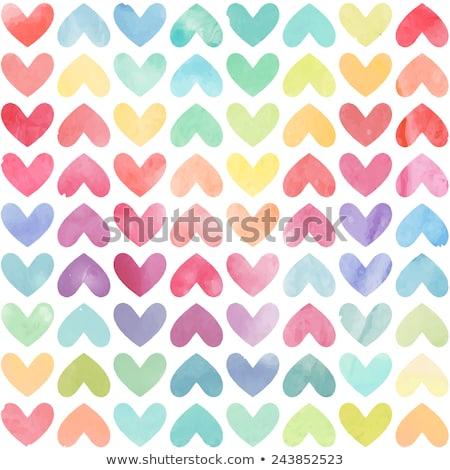 Сток-фото: бесшовный · красочный · сердце · шаблон · иллюстрация · белый