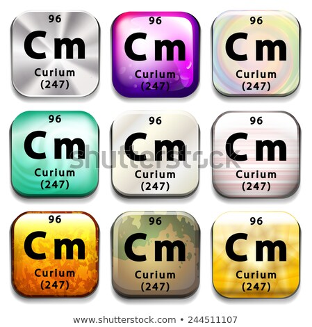 Stock photo: A periodic table button showing the Curium