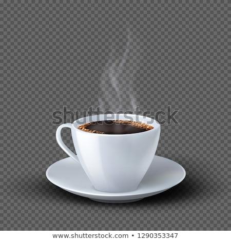 Kubek hot kawy ilustracja biały liści Zdjęcia stock © bluering