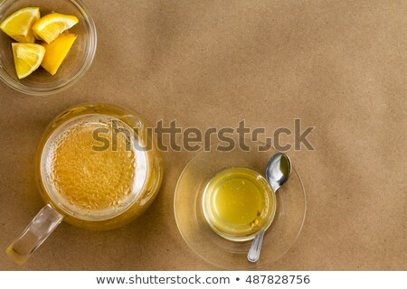 Serving of linden tea and lemon with copy space Stock photo © ozgur