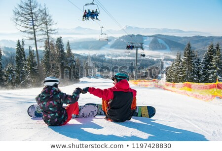 Kayak · asansör · örnek · kız · doğa · çift - stok fotoğraf © joyr