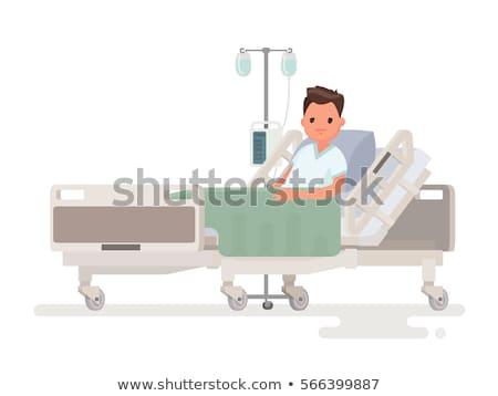 beteg · kórházi · ágy · ázsiai · férfi · oxigénmaszk · vér - stock fotó © rastudio