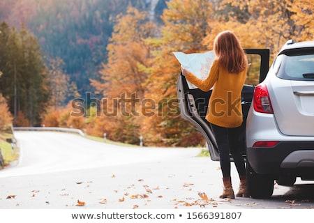 Jonge vrouw permanente weg vrijheid alleen zomer Stockfoto © dariazu