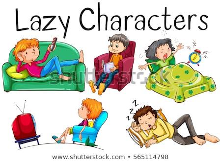 Faul Menschen langweilig Aktivitäten Illustration Frau Stock foto © bluering