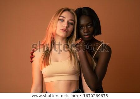 zmysłowy · pani · stwarzające · czarny · biustonosz - zdjęcia stock © deandrobot