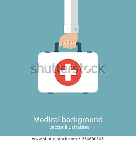 eerste · hulp · uitrusting · vak · kruis · gezondheid · metaal - stockfoto © rastudio