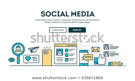 social media colorful linear illustration stock photo © conceptcafe