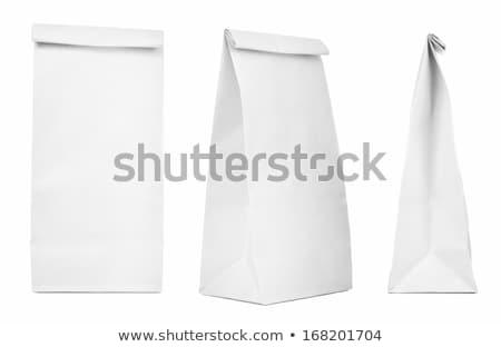 白 · 紙袋 · 折られた · 小 · ファストフード - ストックフォト © icemanj