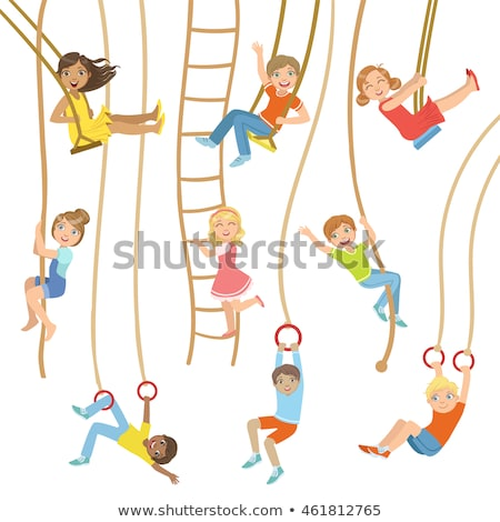 Teenage girl climbing the rope Stock photo © wavebreak_media