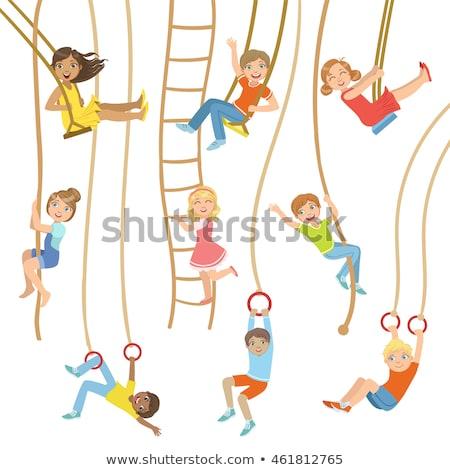 Tienermeisje klimmen touw witte macht tiener Stockfoto © wavebreak_media