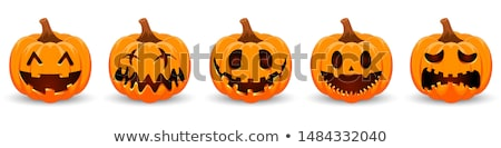 cartoon · halloween · visage · citrouille · blanche · style - photo stock © krisdog