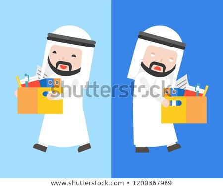 Arábia Árabe empresário documentos vetor desenho animado Foto stock © NikoDzhi