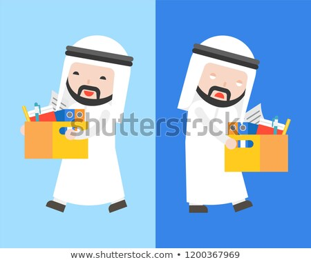 Saudi arab zakenman documenten vector cartoon Stockfoto © NikoDzhi