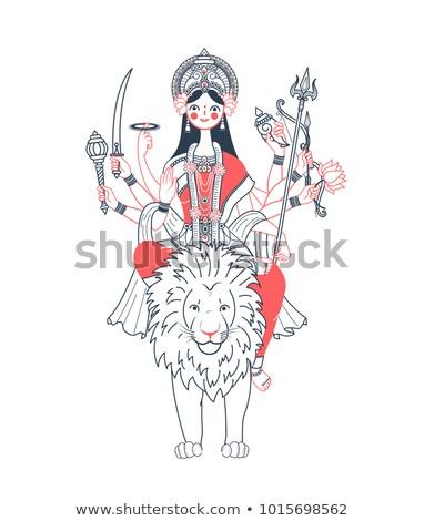 Icon of Goddess Durga   two colors  Stock photo © Olena