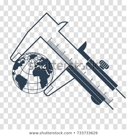 silhouette calipers measuring the earth Stock photo © Olena