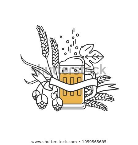 シルエット ガラス ビール リニア スタイル アイコン ストックフォト © Olena