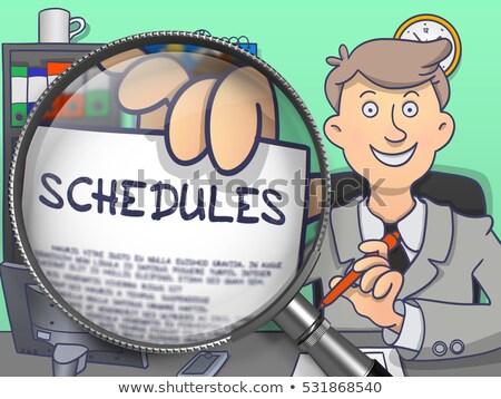 Scheduling and Timing through Magnifying Glass. Doodle Style. Stock photo © tashatuvango