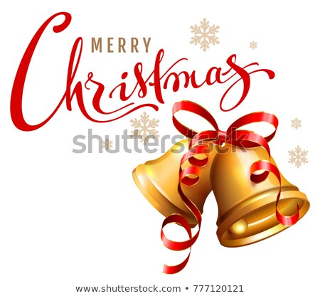 Merry Christmas calligraphy text. Golden bell with red ribbon symbol accessory christmas Stock photo © orensila